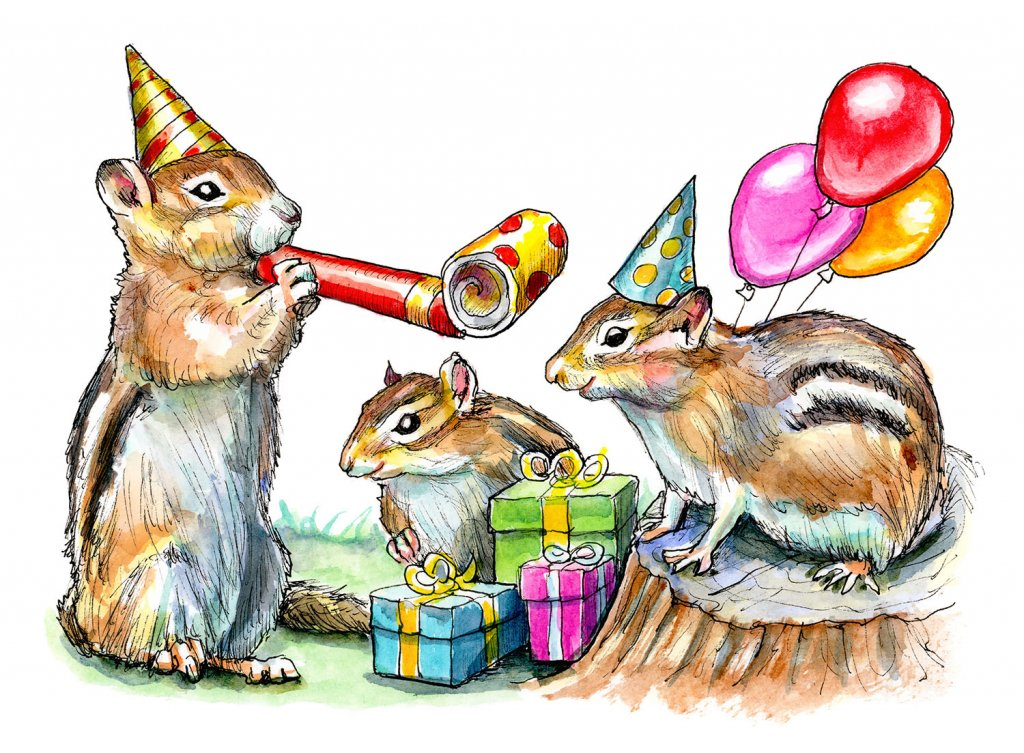 Chimpunks Having A Birthday Party Watercolor Painting Illustration