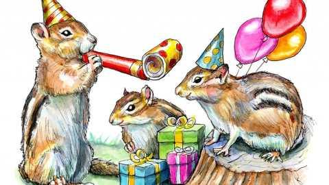 Chimpunks Having A Birthday Party Watercolor Painting Illustration