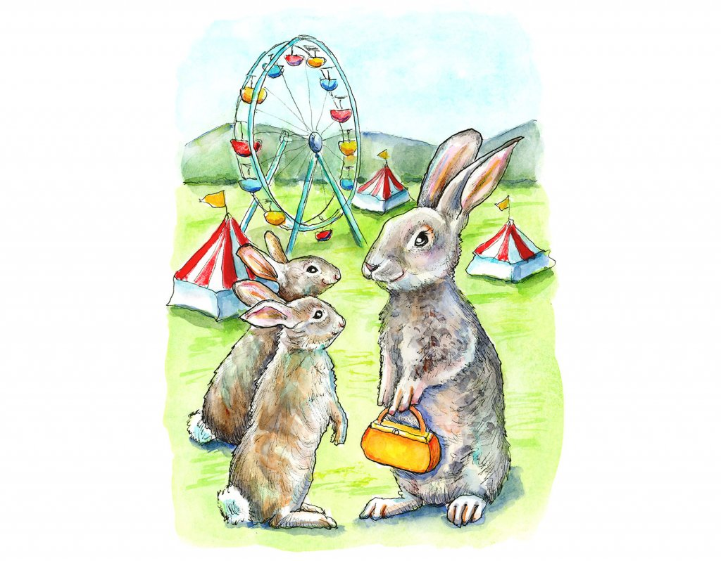 County Fair Ferris Wheel Tents Rabbit Family Watercolor Painting Illustration