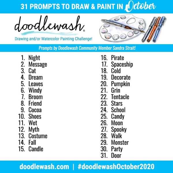 Doodlewash October 2020 Art Ink Drawing Watercolor Challenge Prompts For Ink Drawing And Watercolor