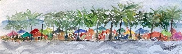 #doodlewashseptember2020 Outdoor fun: Enjoying the beach at Copacabana, Rio de Janeiro, Brazil from