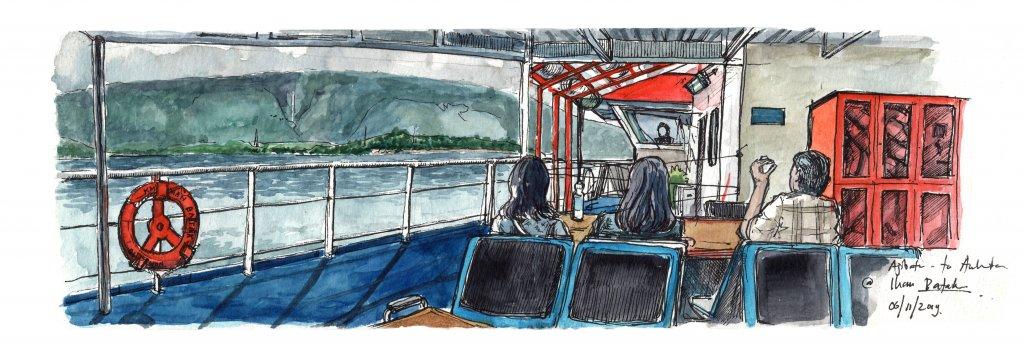 on a ferry, crossing lake toba heading to samosir island from parapat, north sumatra | moleskine wat
