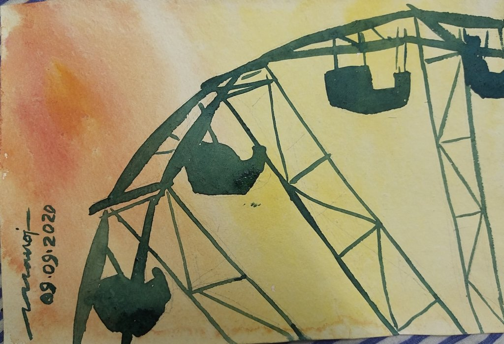 Dt: 09.09.2020 Sub: country fair Watercolor painting on handmade paper inbound1185617219425570421