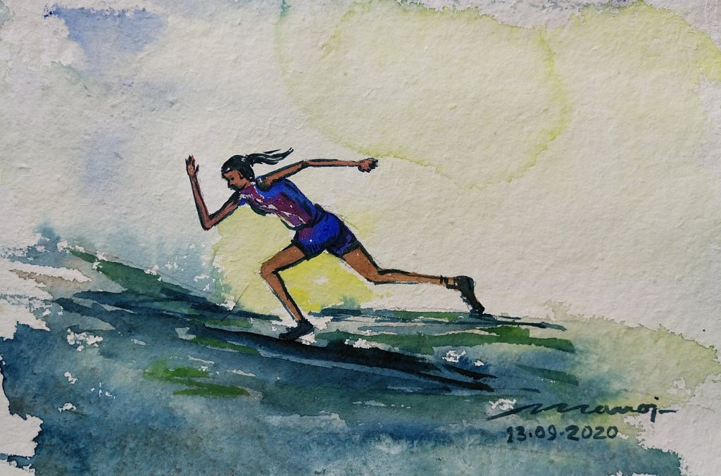 Dt: 13.09.2020 Sub: SPORT Watercolor painting on handmade paper inbound7541161302417594148