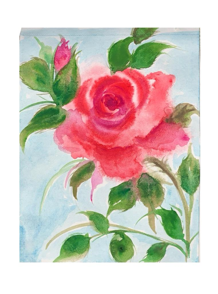 Beautiful rose, its so beautiful to to see the color bleed on the wet paper and giving beautiful sha