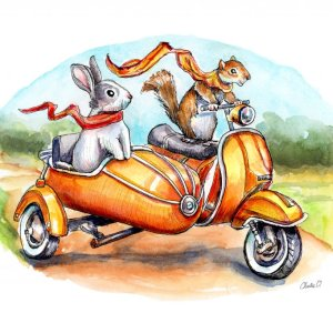 Bunny-Rabbit-And-Squirrel-Riding-Scooter-With-Side-Car-Watercolor-Illustrat_printfile_detail