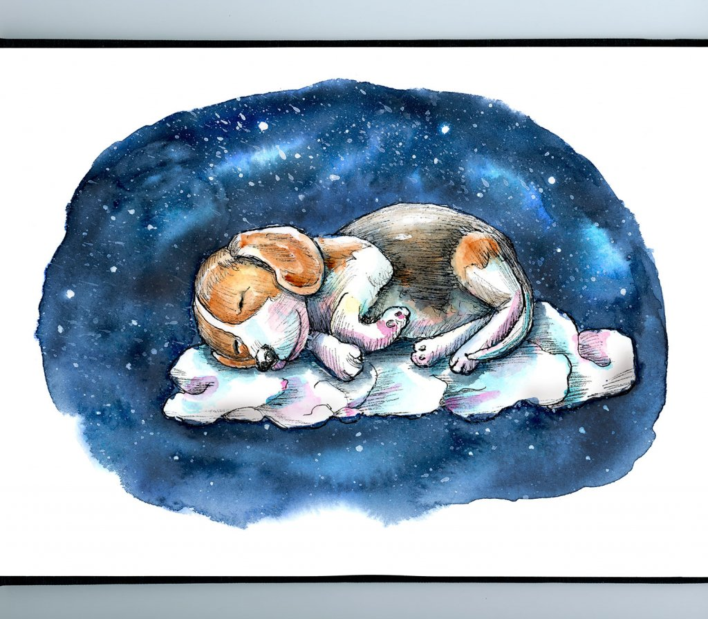 Sleeping On A Cloud Dog Beagle Puppy Watercolor Painting Illustration Sketchbook Detail
