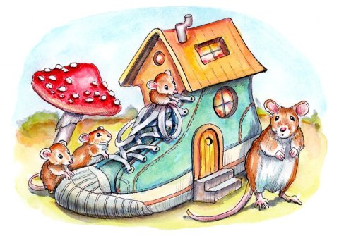 Mice Mouse Who Lived In A Shoe House Watercolor Illustration Painting