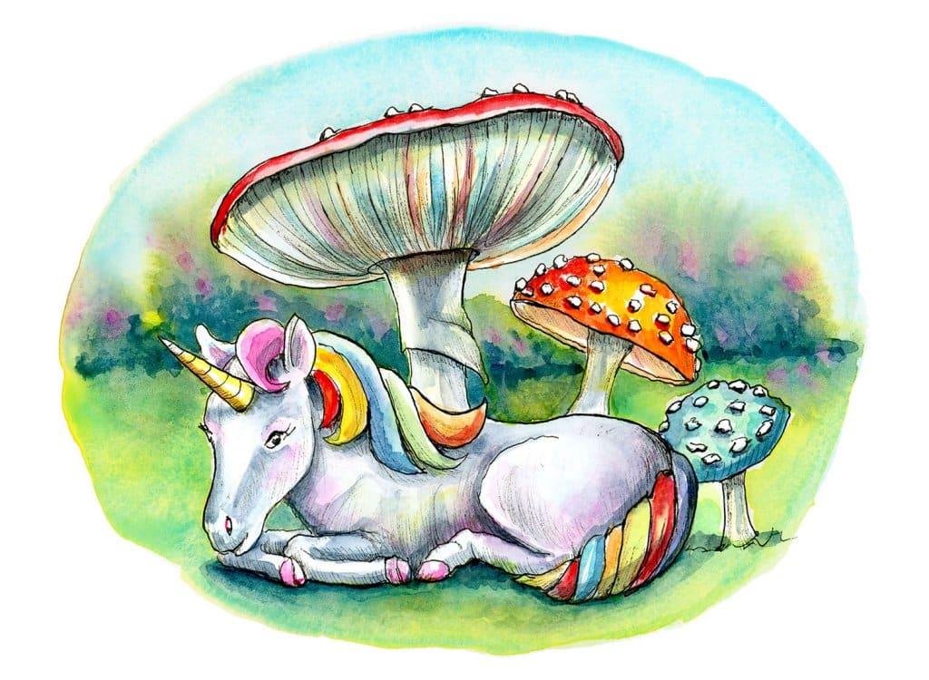 Tiny Unicorn Storybook Mushrooms Fly Agaric Watercolor Illustration Painting