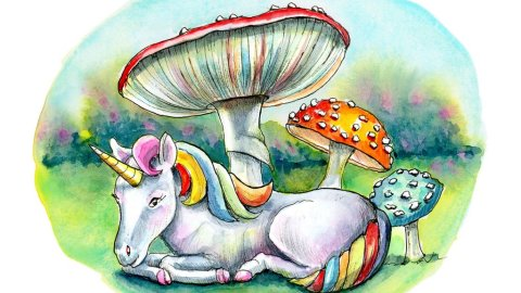 Tiny Unicorn Storybook Mushrooms Fly Agaric Watercolor Illustration Painting