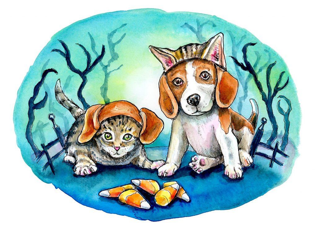 Kitten And Puppy Beagle Dog Costume Halloween Candy Corn Watercolor Illustration Painting
