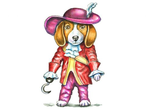 Beagle Costume Dressed As Captian Hook Watercolor Illustration Painting