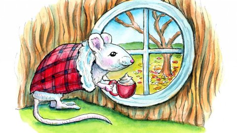 Mouse In Tree Drinking Hot Chocolate Autumn Watercolor Illustration Painting