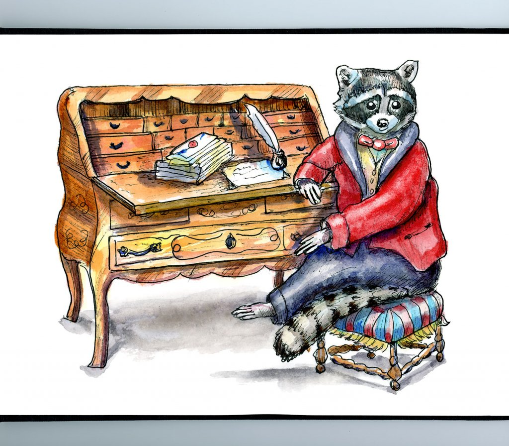 Raccoon Writing Letter Victorian Baroque Antique Desk Watercolor Illustration Painting Sketchbook Detail