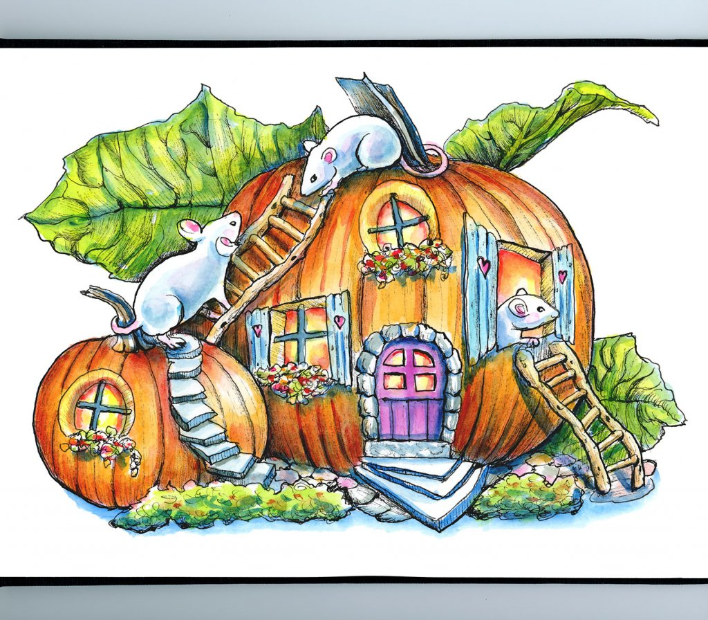 Mouse In Pumpkin Fairy House Halloween Watercolor Illustration Painting Sketchbook Detail
