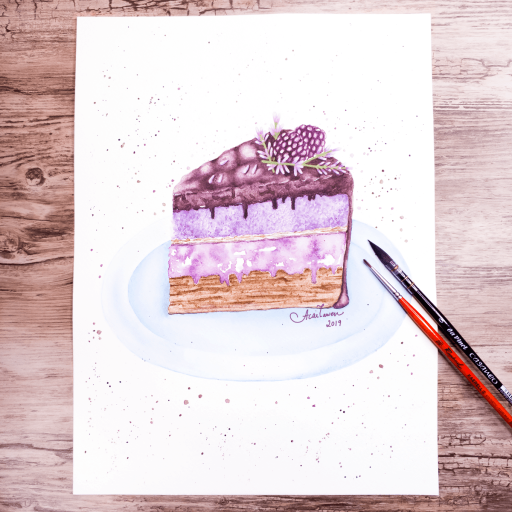 Blackberry Lavender Cake. Daniel Smith watercolors and Holbein gouache on Stonehenge Aqua cold press