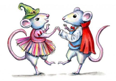 Mice Dancing Costume Party Watercolor Illustration Painting
