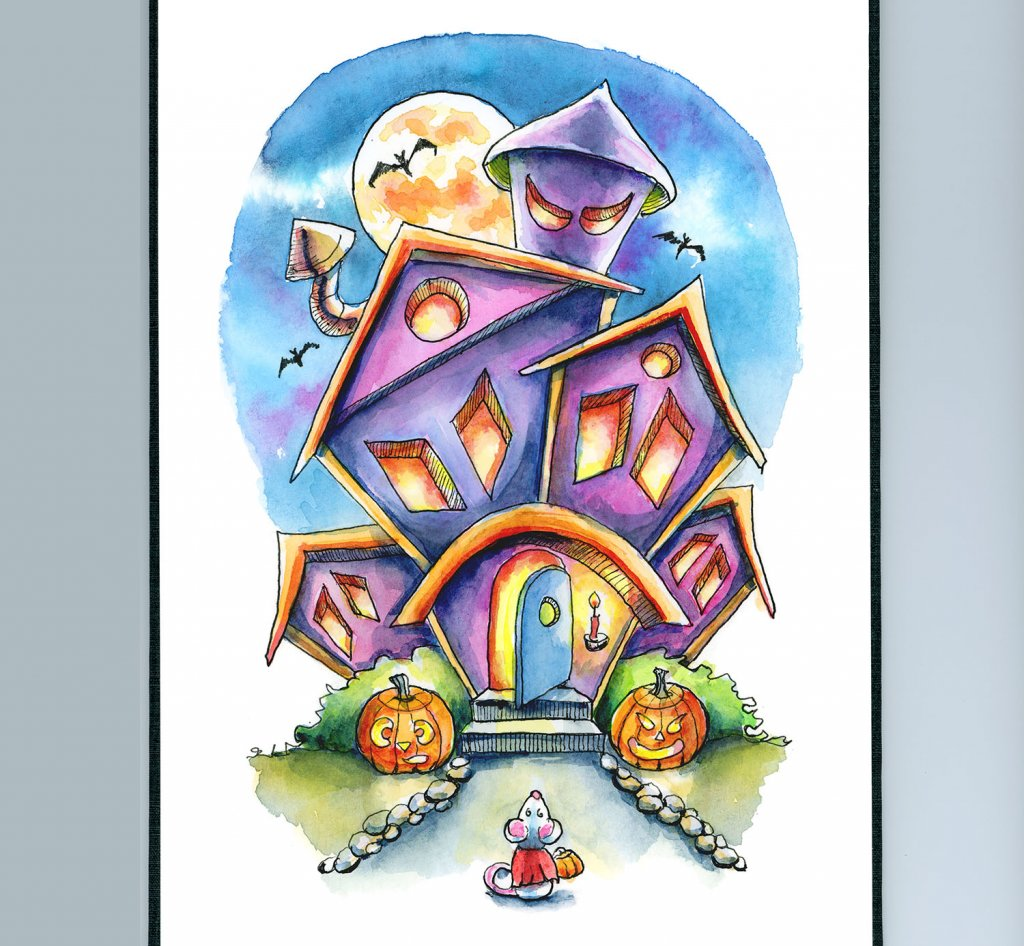 Spooky House Halloween Mouse Watercolor Illustration Painting Sketchbook Detail