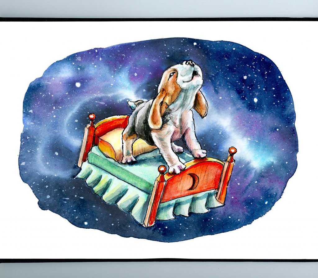 Galaxy Sky Dreams Beagle On Bed Watercolor Illustration Painting Sketchbook Detail