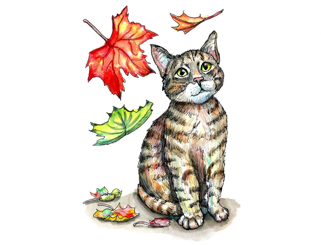 Falling Autumn Fall Leaves Cat Kitten Watercolor Illustration Painting