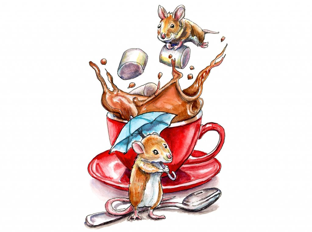 Two Mice Making Hot Cocoa Chocolate Red Mug Watercolor Illustration Painting