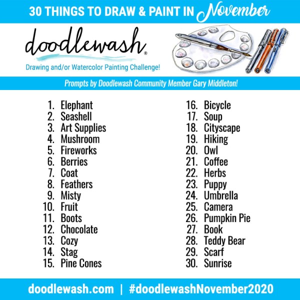 Doodlewash November 2020 Art Drawing Watercolor Challenge Prompts_