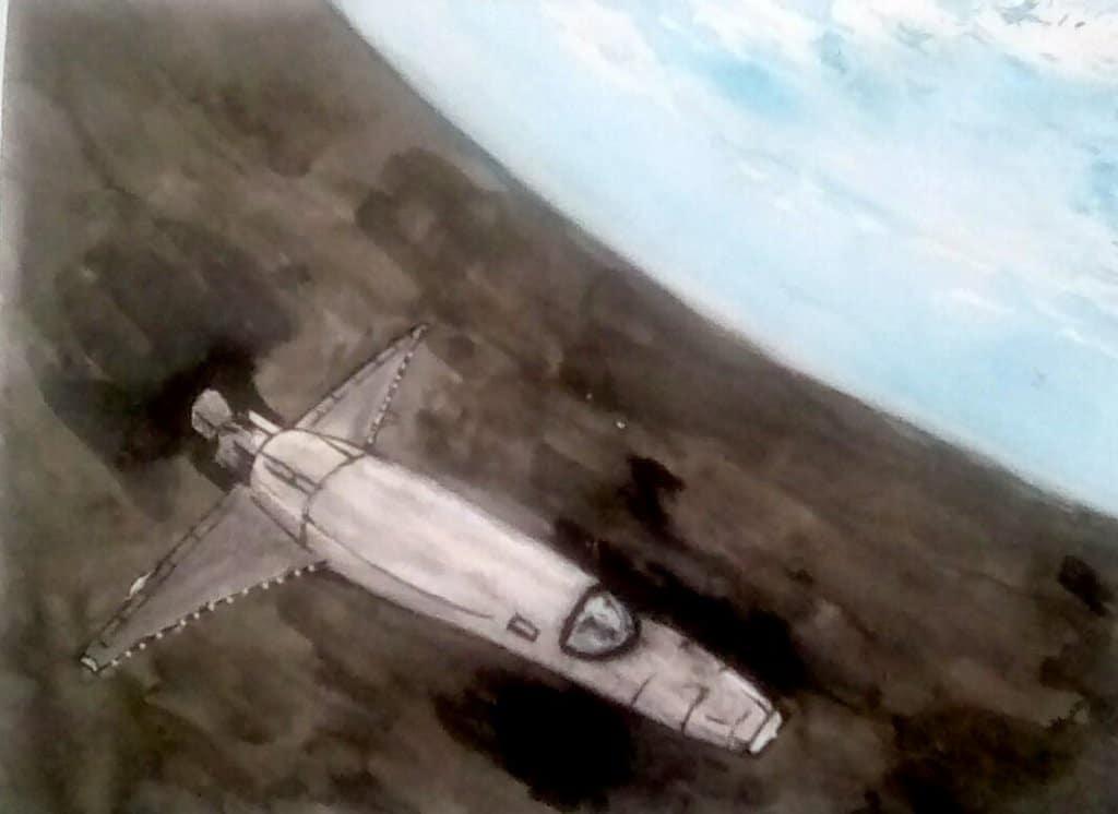 """Today's watercolor challenge """"Spaceship"""" . IMG_20201017_140829_kindlephoto-7212677"""