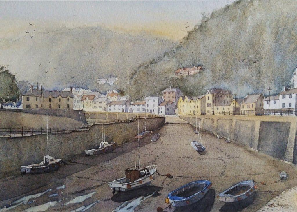 """ Lynmouth harbour "", Devon, England. Andrew Lucas Watercolour, 30 x 40 cm. I hope you e"