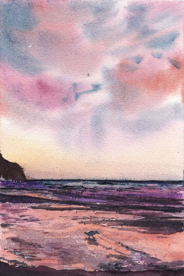 Purple Seaside Sunset Watercolor Painting