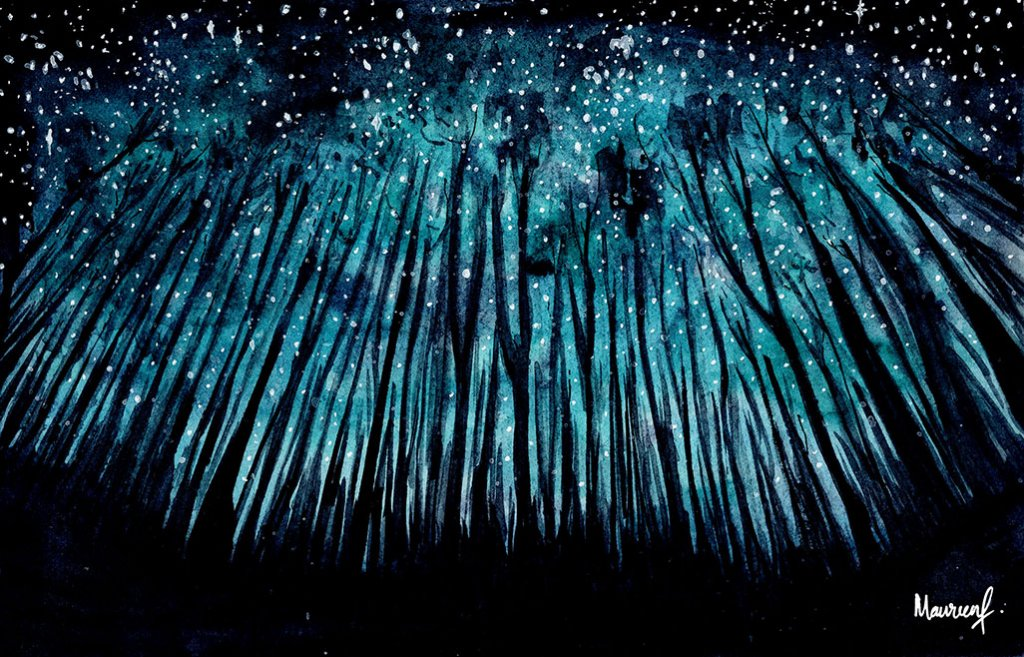 Teal Forrest Night Sky Watercolor Painting by Maureen Fletcher