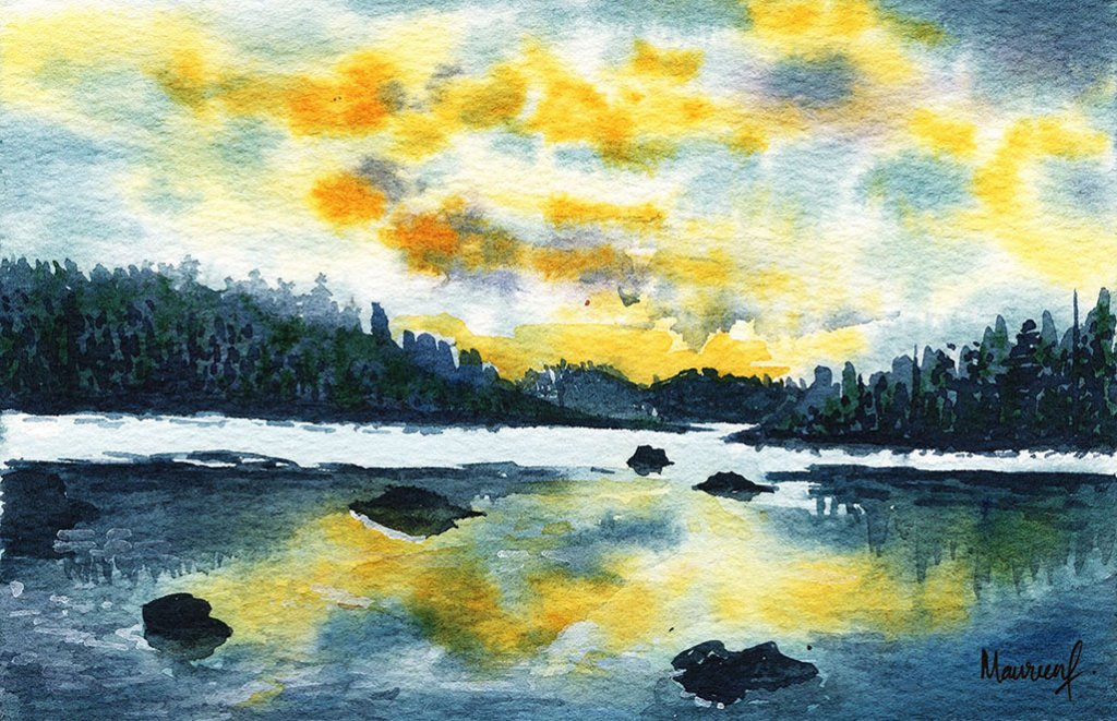 Yellow Skies Landscape Watercolor Painting