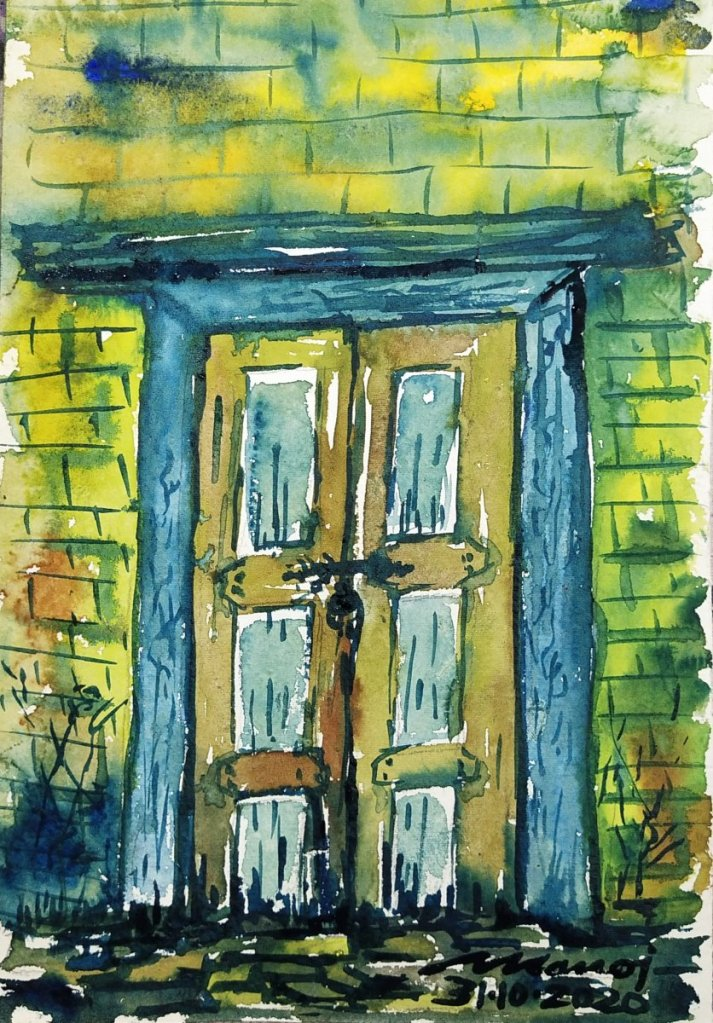 Dt: 31.10.2020 Sub: DOOR Watercolor painting on handmade paper inbound1205420761173820281