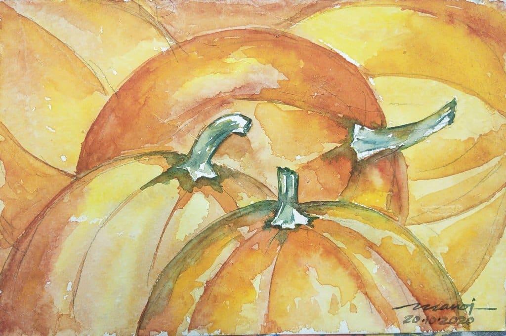 Dt: 20.10.2020 Sub: PUMPKIN Watercolor painting on handmade paper inbound4809555929916837495