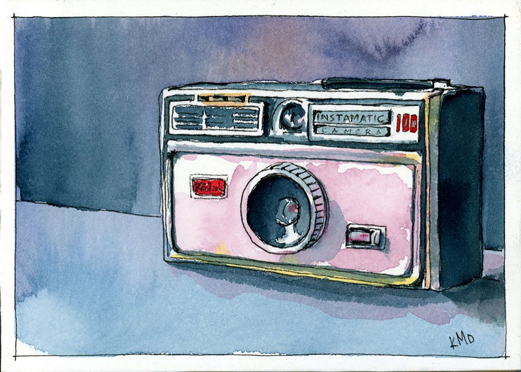 Instamatic100 studio watercolor painting by Kris DeBruine