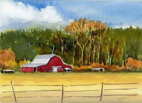Skagit Red Barn studio watercolor painting