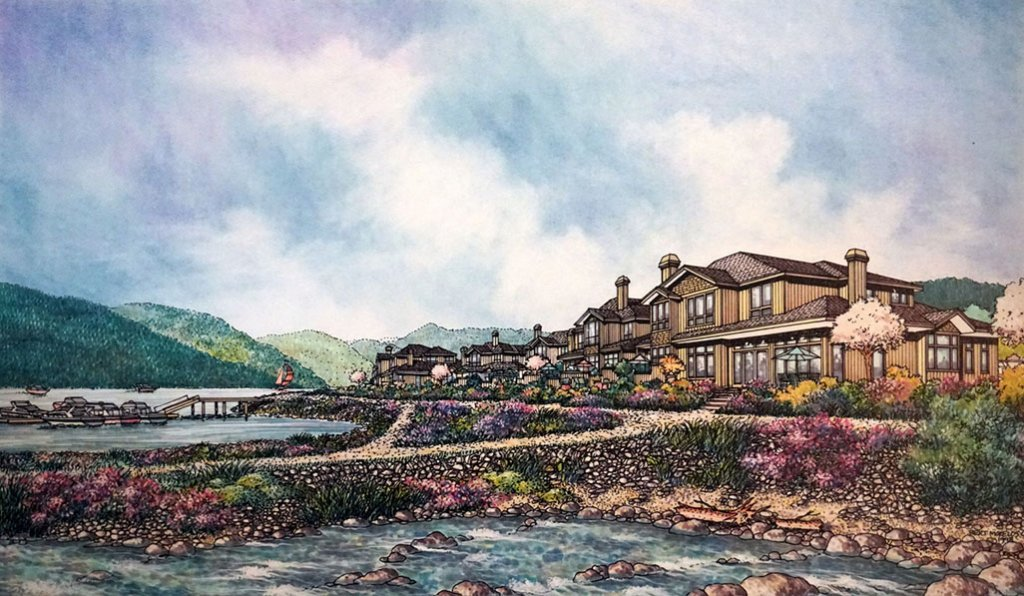 WATERFRONT RESIDENTIAL DEVELOPMENT AT FURRY CREEK Watercolor Drawing Painting