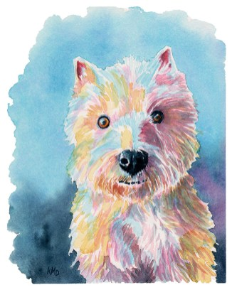 Maggie studio Dog Pet Portrait Watercolor