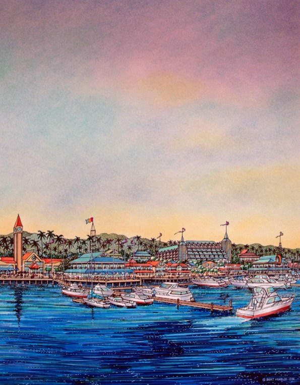 WATERFRONT MIXED USE DEVELOPMENTS Watercolor Painting Bert Morelos
