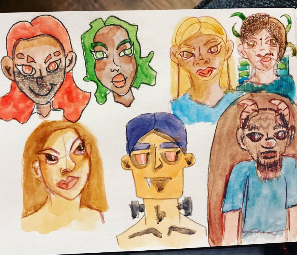 Today's watercolor practice… mostly doodled yesterday 5D60741A-364A-44B8-8C1A-385608EC125F16