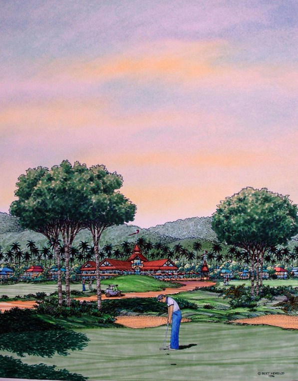 GOLF COURSE COMMUNITY DEVELOPMENT Watercolor Painting by Bert Morelos