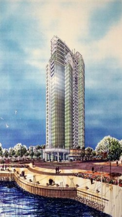 RESIDENTIAL DEVELOPMENT AT PACIFIC PLACE Watercolor Drawing by Bert Morelos