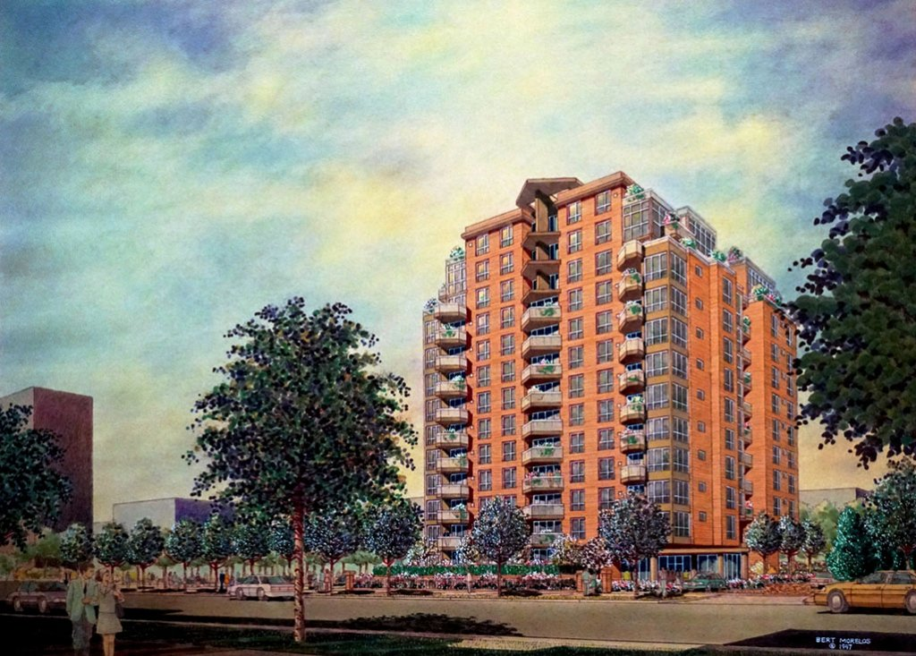 CONDOMINIUM DEVELOPMENT, VANCOUVER BC Architectural Drawing Watercolor Bert Morelos