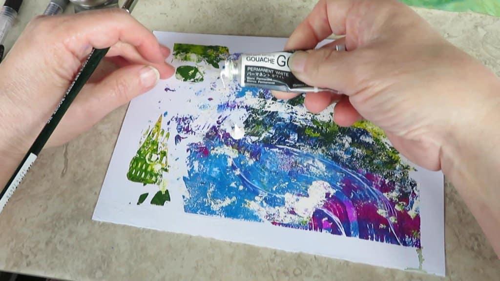 Monoprint Tutorial image added white gouache