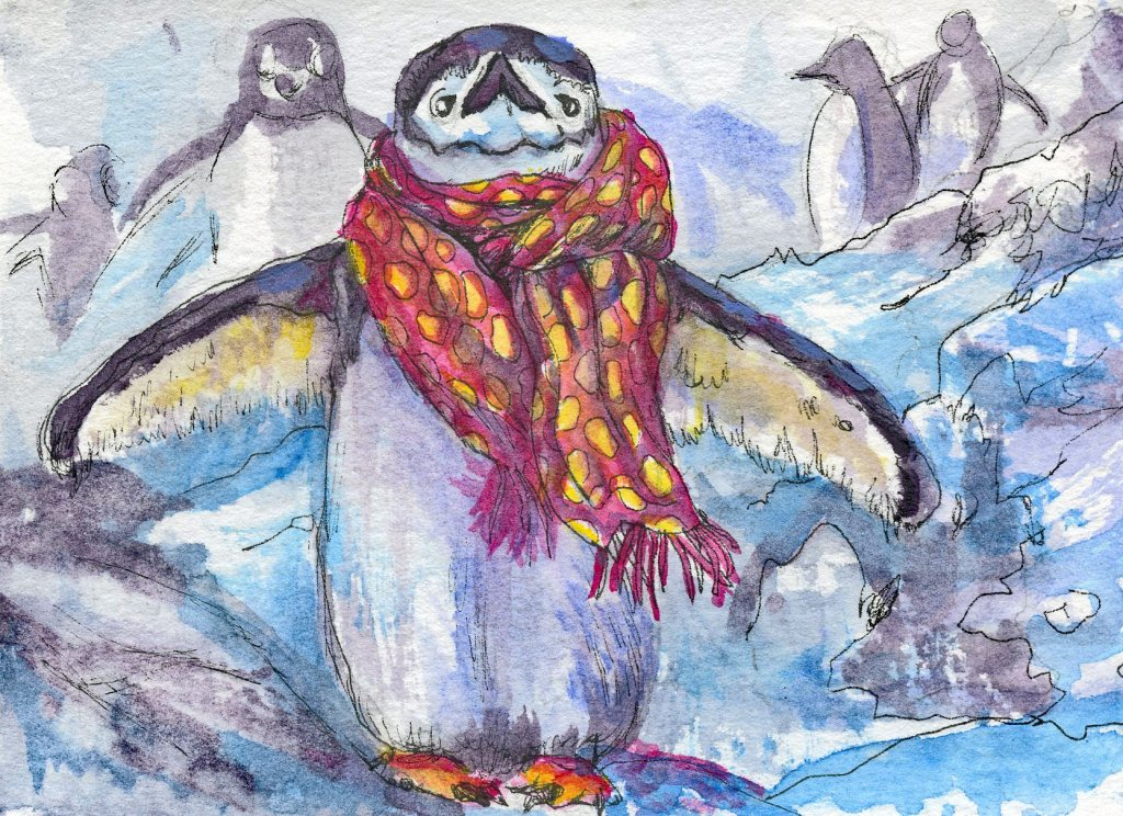 Did you know that contrary to popular belief, penguins DO have elbows and knees? Prompt: Scarf Chins