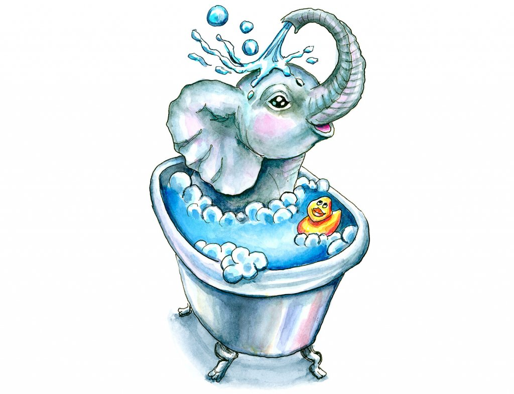 Baby Elephant Bath In Bathtub Bathtime Watercolor Illustration Painting