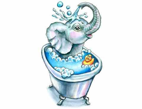 Baby Elephant Bath In Bathtub Bathtime Watercolor Illustration Painting