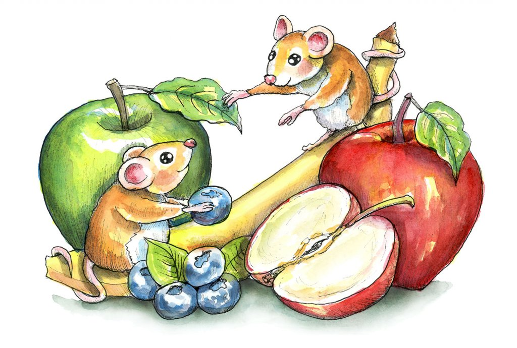 Mice Fruit Apples Banana Blueberries Watercolor Illustration Painting