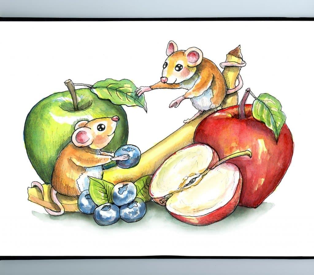 Mice Fruit Apples Banana Blueberries Watercolor Illustration Painting Sketchbook Detail