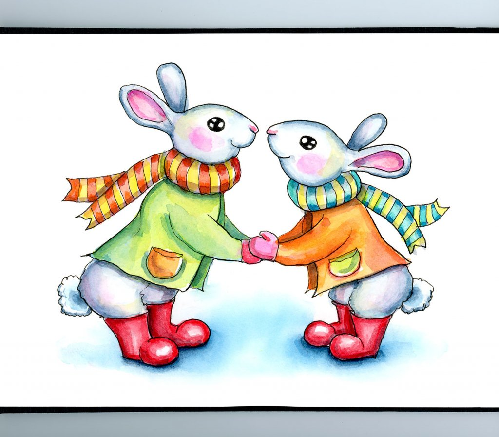 Two Rabbits Touching Noses Wearing Scarves Winter Boots Watercolor Illustration Painting Sketchbook Detail