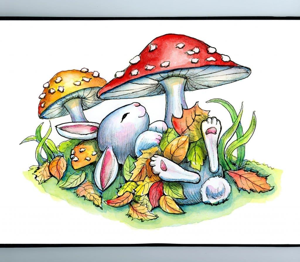 Bunny Rabbit Sleeping Autumn Leaves Mushrooms Watercolor Illustration Painting Sketchbook Detail